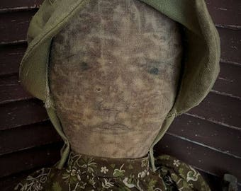 MUSTARD SEED ORIGINALS, Handrawn Face, Very Primitive, Extreme Primitive, Early American, Prairie, Cloth Doll by Sharon Stevens