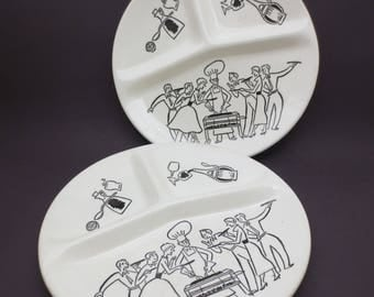 Mid Century BBQ Divided Plates Set of 2 Printed Retro Vintage Ceramic Cookout