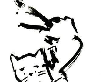 Original Black Cat Gouache Painting ACEO number 163