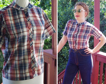 PLAID 1940's 50's Vintage Navy + Brick Red Plaid Button Down Blouse w/ Pan Collar + Short Sleeves // size Small 34 // by WINI Classics