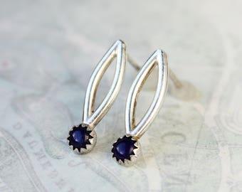 lapis earrings, small blue stone stud earrings, sterling silver drop posts,