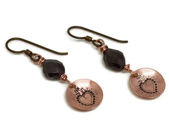 Copper Sacred Heart Earrings, Karmic Serenity Collection, Garnet, Hand Stamped, Charm, Domed, Wire Wrapped, Simple, oxidized, niobium