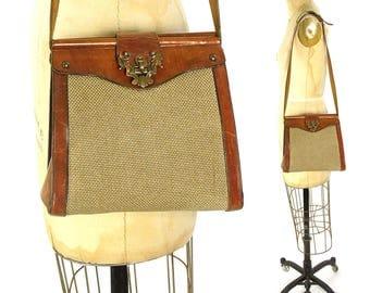 70s Leather & Hemp Etienne Aigner Purse / Vintage 1970s Distressed Brown Shoulder Bag with Logo Clasp / Classic Boho Preppy French Designer