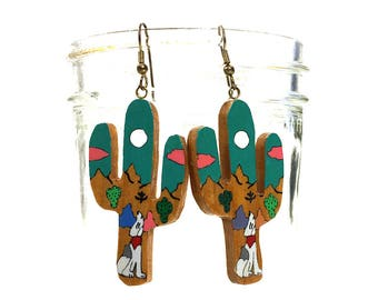 80s BIG Cactus Earrings / Vintage 1980s GIANT Southwestern Wood Earrings for Pierced Ears / Hippie Boho Western Rocker Bohemian Cowgirl