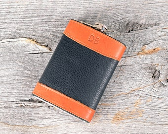 Personalized Leather Flask Personalized with Initials - Custom Gift for Groomsmen bachelor music festival drink guy gift friend party  flask