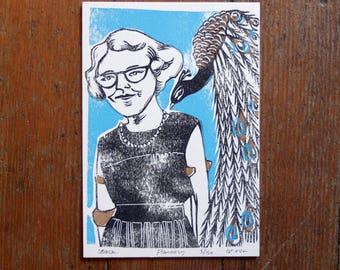 Flannery O' Conner linocut letterpress print