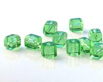 Light Green Glass Cube Beads 4x4mm Full Strand 80 beads