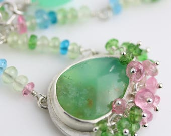 Chrysoprase with Pink and Green Tourmaline Necklace