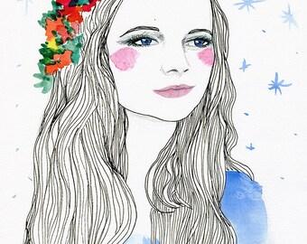 Original ART DRAWING Portrait Face Sketch Girl Pretty Floral Headpiece Headband Flower Rainbow Blue Stars Long Flowing Hair Red Rosy Cheeks