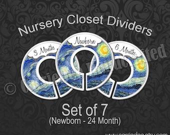 Starry Night Nursery Closet Dividers, Van Gogh Nursery Decor, Baby Shower Gift, Starry Night Baby Decor