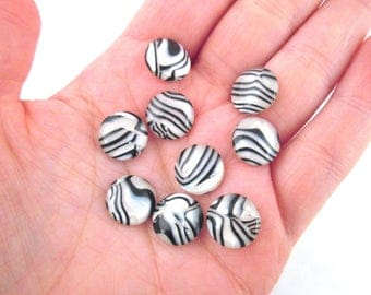 10 Striped Resin Cabochons, 12mm Cabochons, H165