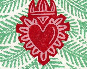 Heart Print ACEO Milagro Christmas Tree Ornament