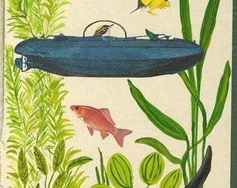 Myrtle's undersea adventure.  Original mixed media collage by Vivienne Strauss.