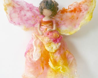 Sunrise Dahlia Flower Fairy: Waldorf Inspired Silk & Wool Fairy (Creativity + Change)