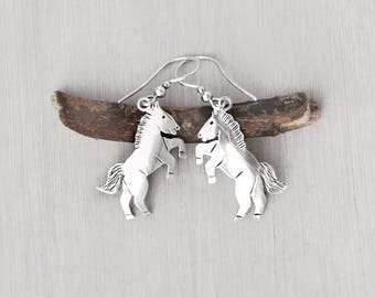 Vintage Rearing Horse Earrings - Southwestern sterling silver wild mustang - stamped charms on hook ear wires