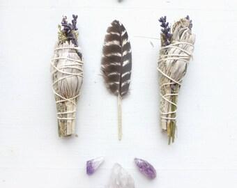 Amethyst Sage//Lavender Sage Smudge Stick kit//Botanical sage bundle//Home clearing kit//Housewarming Gift//New Home//Yoga gifts/Smudge fan