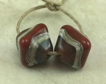 Rich Browns Glass Crystal Pair - Mocha Chocolate Caramel Fall Silvered Ivory Pyramid - Lampwork Bead Set - SRA - I ship Internationally