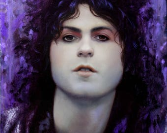 """ORIGINAL Marc Bolan painting, 12x12"""", oil on canvas"""