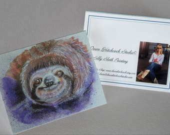 Sloth Blank Card, Sloth Watercolor, Sloth Greeting Card, Sloth Painting, Whimsical Sloth, Sloth Art, Sloth Card, Sloth Paper Products, Sloth