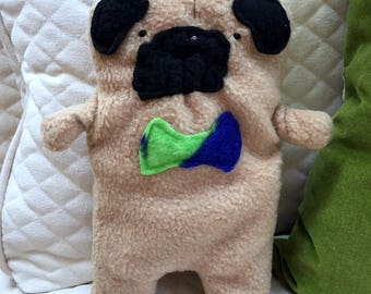 Frank ~ The Fawn Pug Bow Tie Bummlie ~ Stuffing Free Dog Toy ~ Ready To Ship Today - Blue & Green Bow Tie