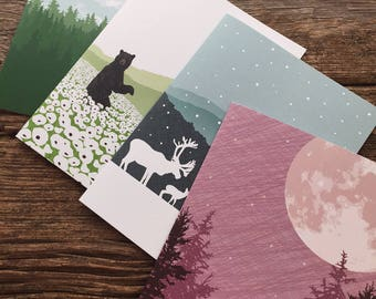 assorted cards / stationery set / mountains