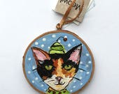RESERVED for June Cat Ornament - Calico Cat Ornament - Cat Christmas Ornament -  Hand Painted Cat Ornament - Gift for Cat Lovers - Cat Gift