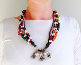 Beaded Taviz Capsule Amulet Tribal Necklace 3. Rabari Gujarat