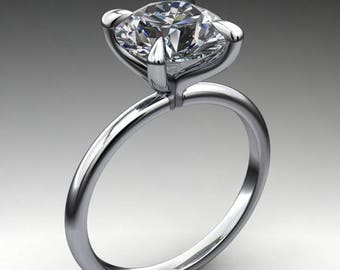 naked shay ring - 2.7 carat diamond cut round NEO moissanite engagement ring