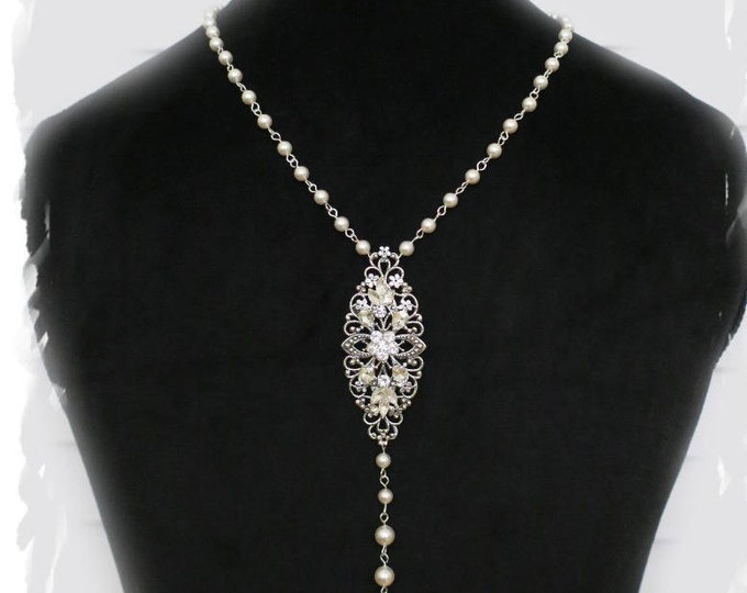 Back Drop Bridal Necklace Pearl Crystal Gatsby Jewelry