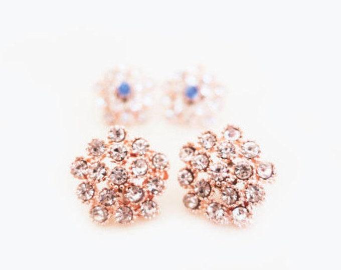 Rose Gold Stud Earrings, Blush Earrings, Crystal Stud Earrings, Bridesmaid Stud Earrings, Something Blue, Rhinestone Stud, Wedding Jewelry