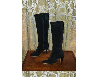 Vintage 70's Knee High Black Suede Leather High Heel Go Go Boots, Size 7 1/2 7.5