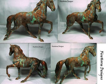 Porcelain Horse Sculpture Finished in Faux Tarnished Bronze with Green Patina