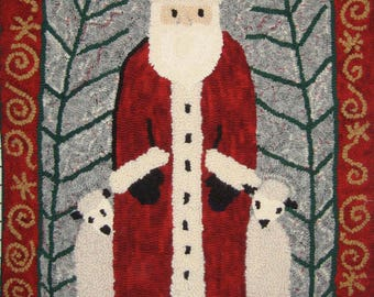 Santa and Friends Rug Hooking PATTERN on Linen