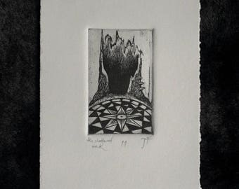 The Shattered Oak - fine art intaglio etching