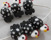 Black and White Polka Dot Chickens by Shot Of Glass Lampwork Beads