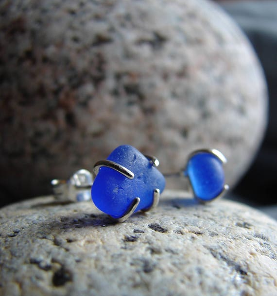 Tiny Ocean sea glass stud earrings in cobalt blue