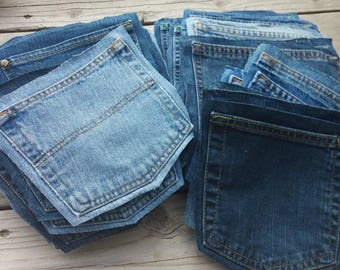 Upcycled Denim Jean Pockets ready for repurposing DIY crafts purses buntings