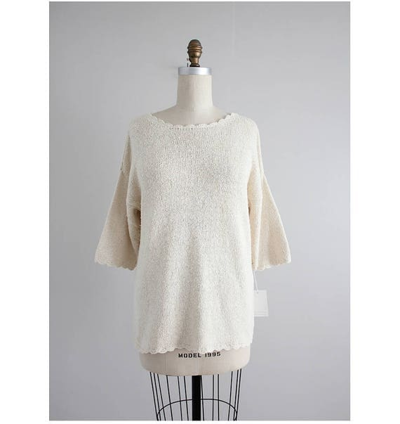 cream silk sweater scallop sweater oversized cream sweater