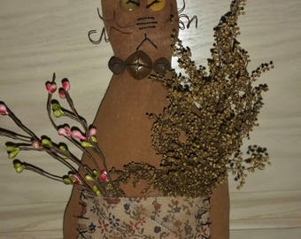 Primitive Rustic Country Brown Barn Cat Doll Decoration