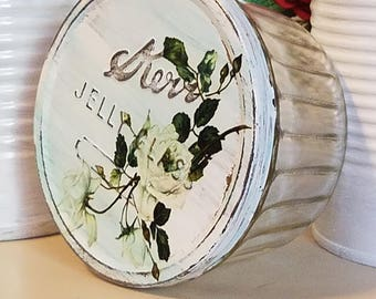 SALVAGED kerr jar,kerr jelly glass,shabby chic decor,shabby beach cottage,vintage kerr jelly jar,tin lid,upcycled recycled repurposed,roses