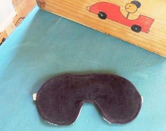 Travel or Sleeping Mask grey corduroy recycled bra strap #023
