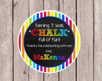 PRINTABLE Chalk Birthday Party Favor Tags / Turning (AGE) is CHALK full of fun / Cute Party Favor for a Summer Party / Print Your Own