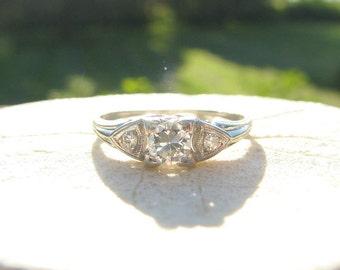 1930s Platinum Diamond Engagement Promise Ring, Clean & Fiery European Transitional Cut Diamond, Elegant late Art Deco Design, Custom Sizing