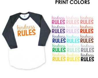Kindness Rules Heather Black Baseball TShirt - Peace, Love, Be Kind, Happy, Friendship, Birthday, Support, Sweet