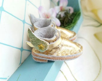 Blythe Doll Shoes Mini Gold Star Wing Leather Boots Azone Pure Neemo M Size