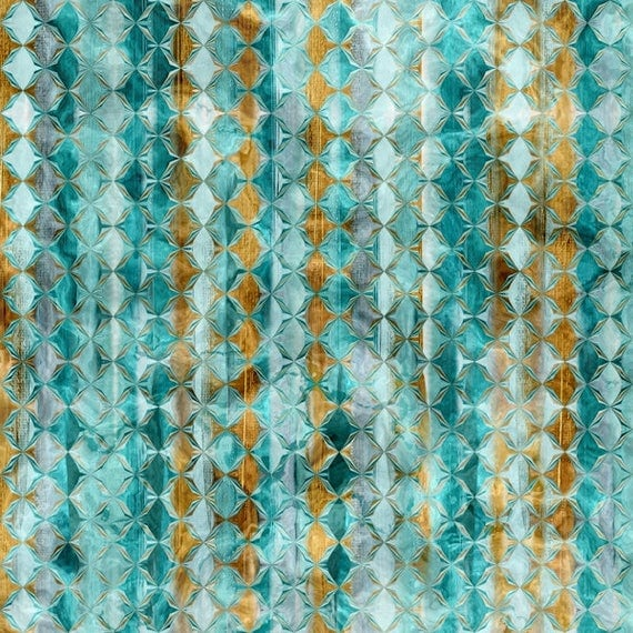 Designer Fabric Abstract Blue Gold Copper Stripe Handmade Velvet Upholstery Fabric