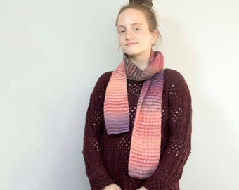 Hand knit Striped Scarf