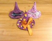 Halloween Witch Hats Ornaments Purple Bowl Fillers Candy Corn Holiday Decorations