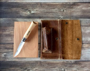 Roadside Knife + Board Set | Travel Set | Leather Case + Opinel Knife + Mini Cutting Board Gift Set | Gifts for Him | Gifts under 50