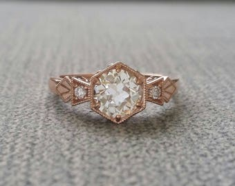 "Antique Diamond Old European Cut Moissanite Engagement Ring Rose Gold 1920 Copper Gemstone Bohemian PenelliBelle ""The Ellie"""